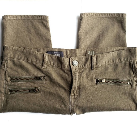 J. Crew Toothpick Jeans With Moto Zippers
